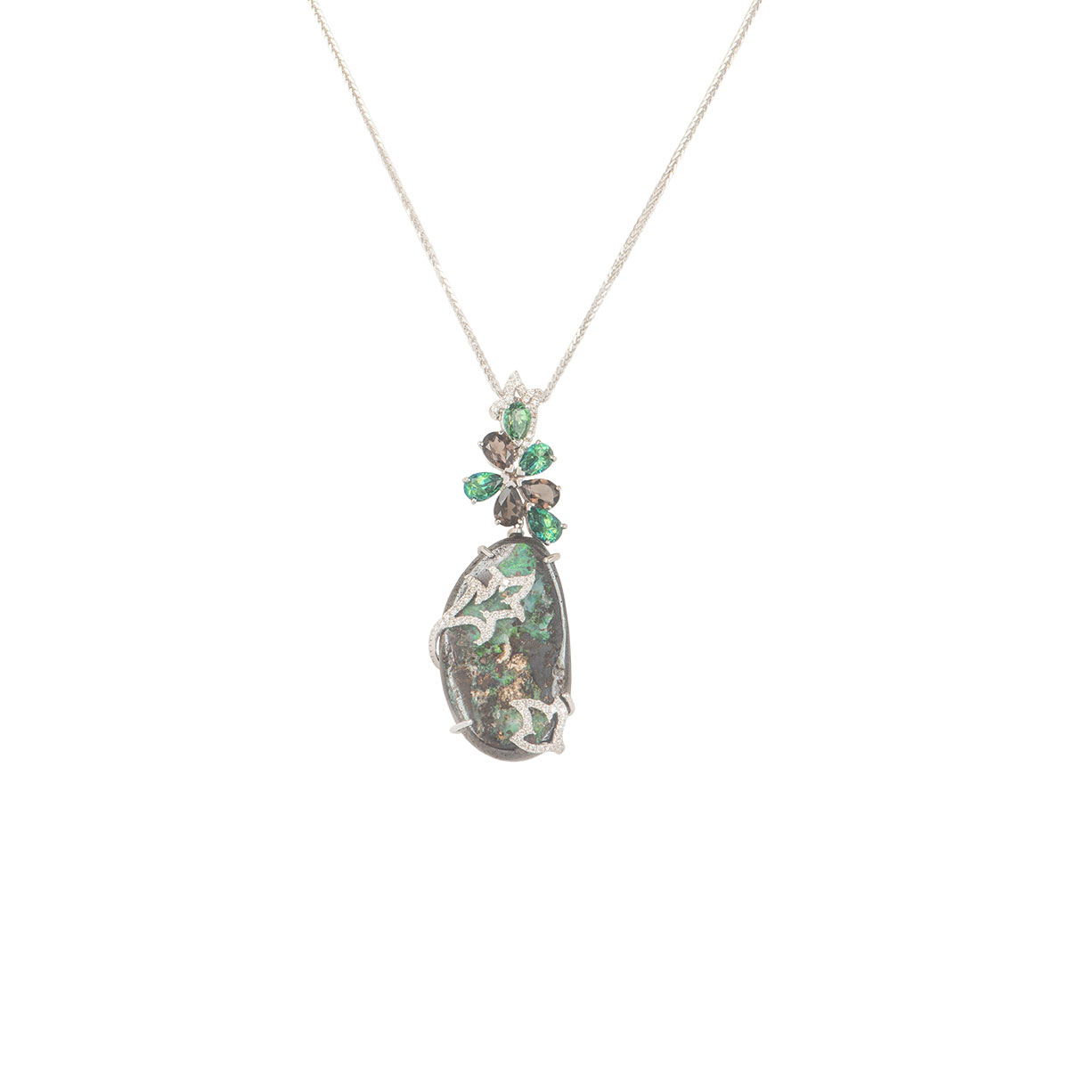 White Gold Floral Diamond And Multi-Gem Pendant